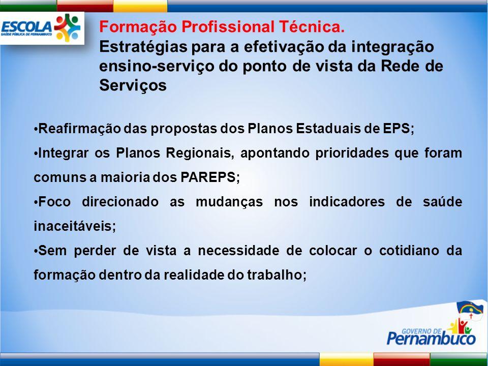 Reafirmação das propostas dos Planos Estaduais de EPS; Integrar os Planos Regionais, apontando prioridades que foram comuns a maioria dos PAREPS; Foco