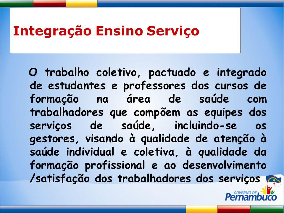 Integração Ensino Serviço O trabalho coletivo, pactuado e integrado de estudantes e professores dos cursos de formação na área de saúde com trabalhado