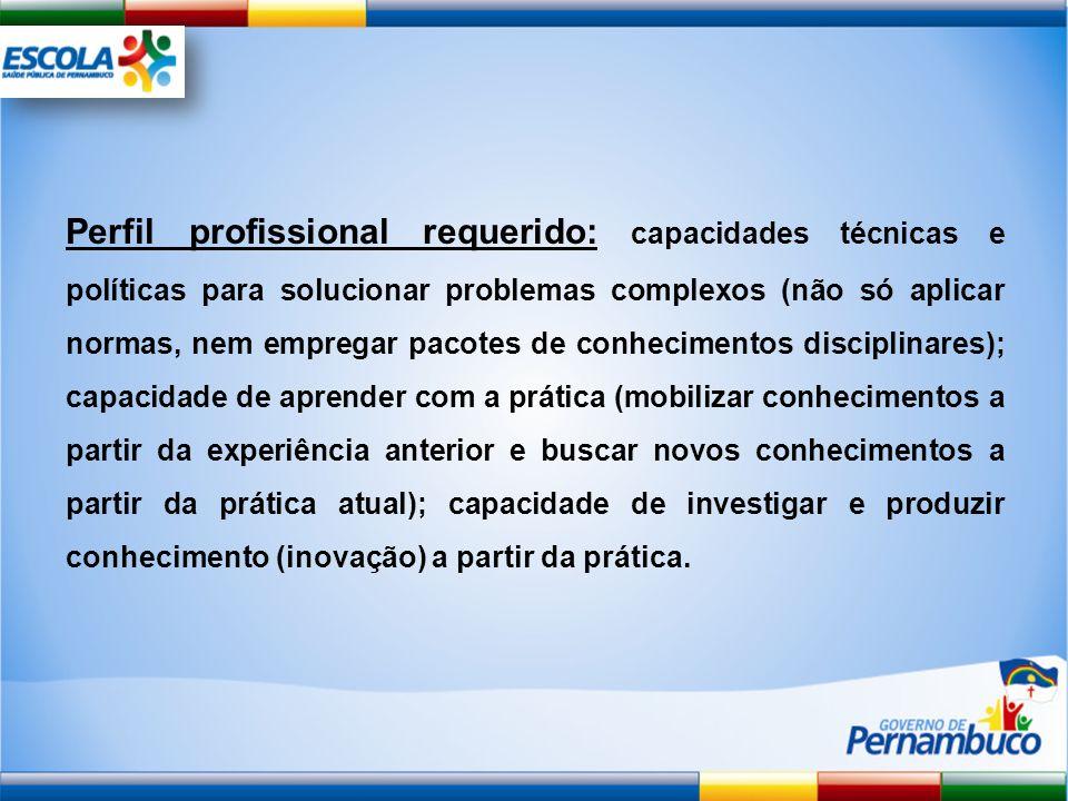 Perfil profissional requerido: capacidades técnicas e políticas para solucionar problemas complexos (não só aplicar normas, nem empregar pacotes de co