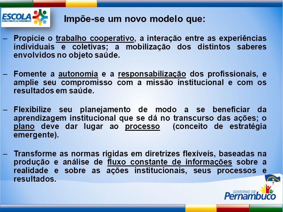 Impõe-se um novo modelo que: –Propicie o trabalho cooperativo, a interação entre as experiências individuais e coletivas; a mobilização dos distintos