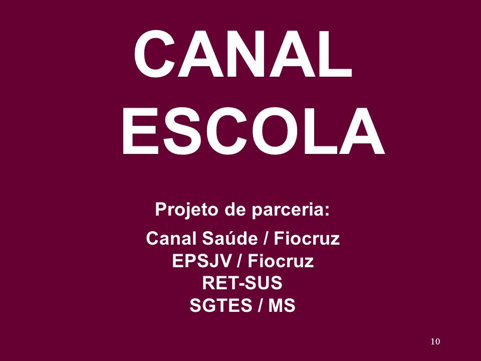 10 CANAL ESCOLA Projeto de parceria: Canal Saúde / Fiocruz EPSJV / Fiocruz RET-SUS SGTES / MS