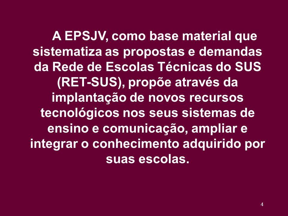 4 A EPSJV, como base material que sistematiza as propostas e demandas da Rede de Escolas Técnicas do SUS (RET-SUS), propõe através da implantação de novos recursos tecnológicos nos seus sistemas de ensino e comunicação, ampliar e integrar o conhecimento adquirido por suas escolas.