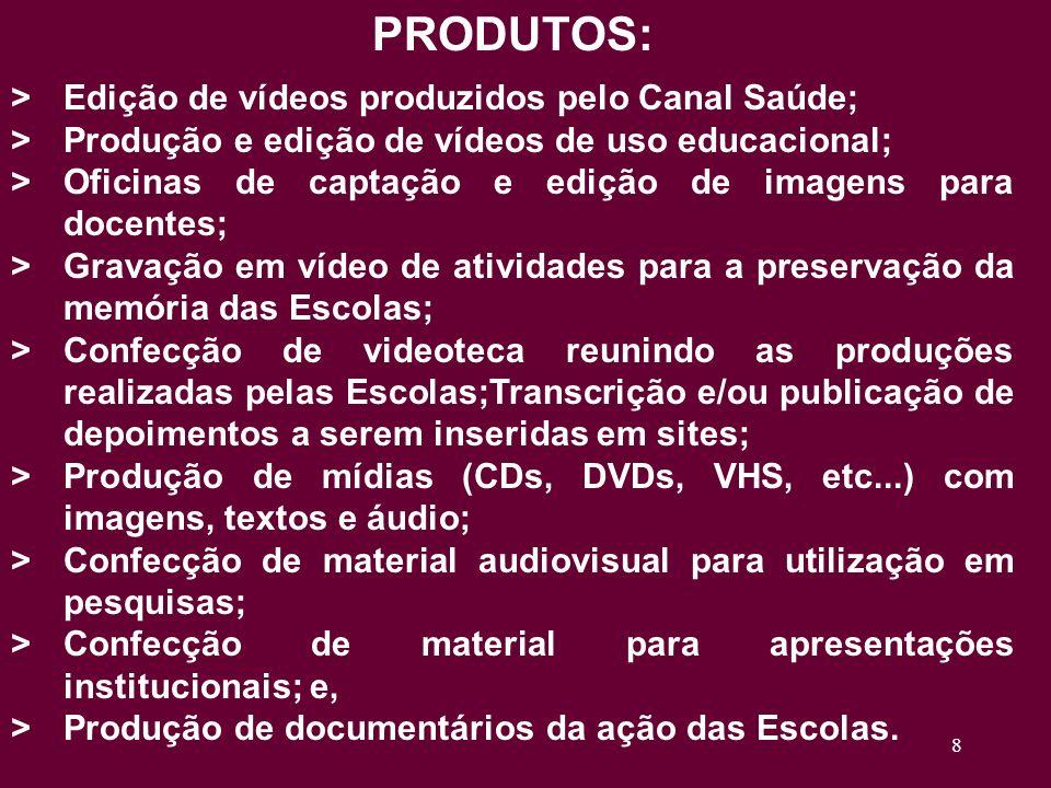 8 PRODUTOS: >Edição de vídeos produzidos pelo Canal Saúde; >Produção e edição de vídeos de uso educacional; >Oficinas de captação e edição de imagens para docentes; >Gravação em vídeo de atividades para a preservação da memória das Escolas; >Confecção de videoteca reunindo as produções realizadas pelas Escolas;Transcrição e/ou publicação de depoimentos a serem inseridas em sites; >Produção de mídias (CDs, DVDs, VHS, etc...) com imagens, textos e áudio; >Confecção de material audiovisual para utilização em pesquisas; >Confecção de material para apresentações institucionais; e, >Produção de documentários da ação das Escolas.