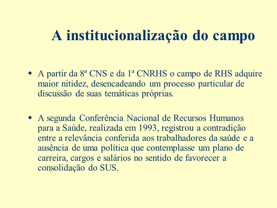A institucionalização do campo A partir da 8ª CNS e da 1ª CNRHS o campo de RHS adquire maior nitidez, desencadeando um processo particular de discussã