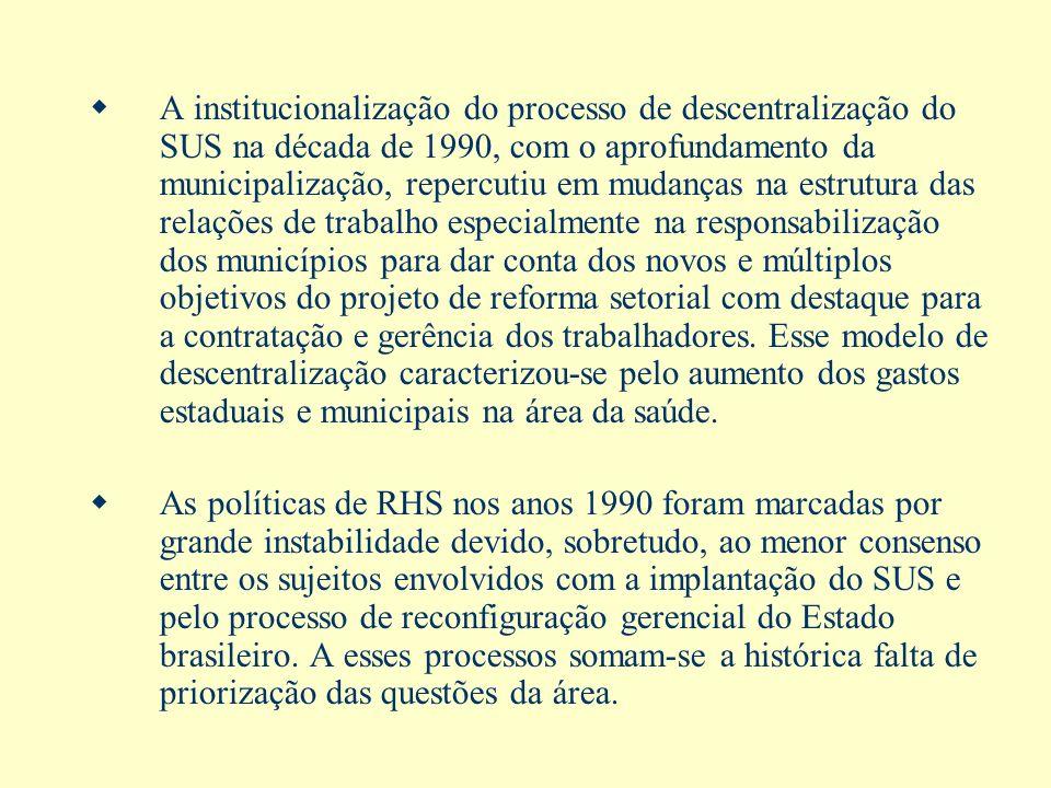 A institucionalização do processo de descentralização do SUS na década de 1990, com o aprofundamento da municipalização, repercutiu em mudanças na est