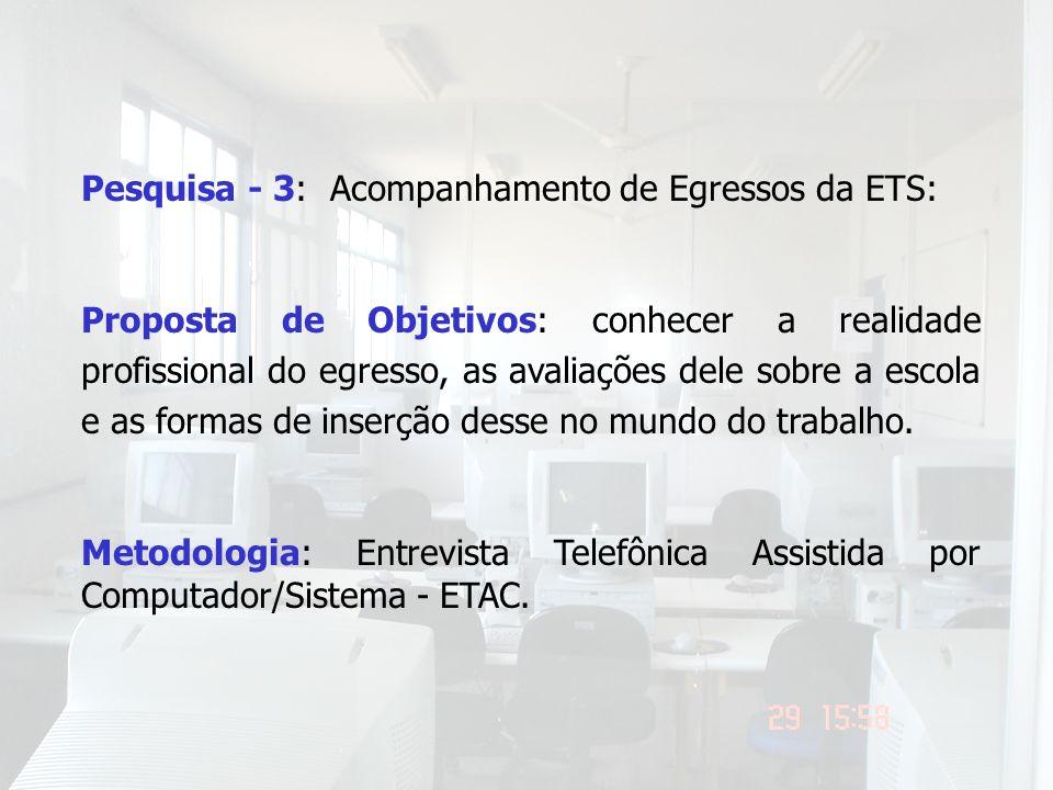 Pesquisa - 3: Acompanhamento de Egressos da ETS: Proposta de Objetivos: conhecer a realidade profissional do egresso, as avaliações dele sobre a escol