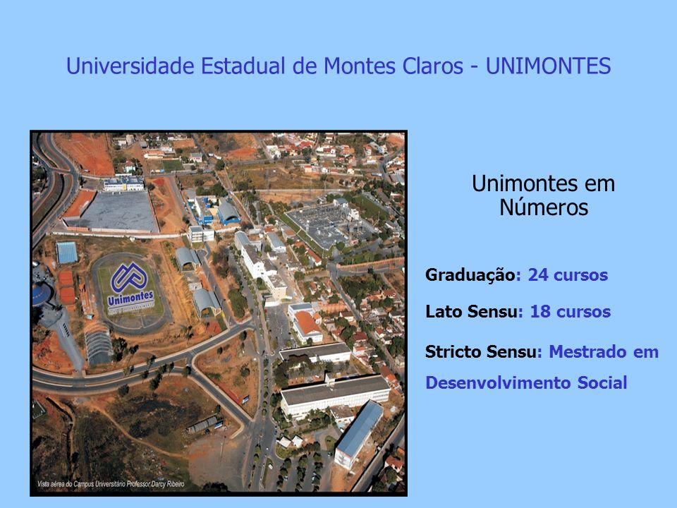 Universidade Estadual de Montes Claros - UNIMONTES Unimontes em Números Graduação: 24 cursos Lato Sensu: 18 cursos Stricto Sensu: Mestrado em Desenvol