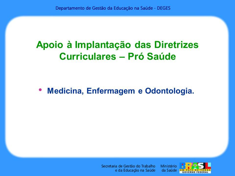 Apoio à Implantação das Diretrizes Curriculares – Pró Saúde Medicina, Enfermagem e Odontologia.