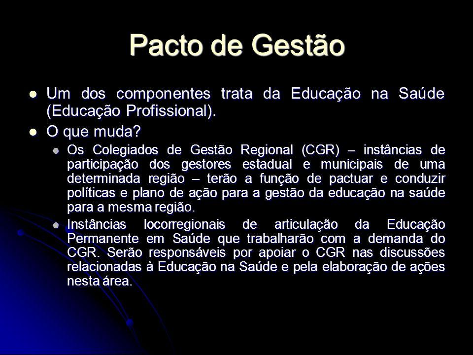 Pacto de Gestão Um dos componentes trata da Educação na Saúde (Educação Profissional).