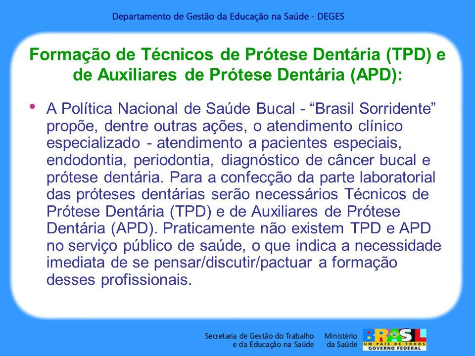Formação de Técnicos de Prótese Dentária (TPD) e de Auxiliares de Prótese Dentária (APD): A Política Nacional de Saúde Bucal - Brasil Sorridente propõ