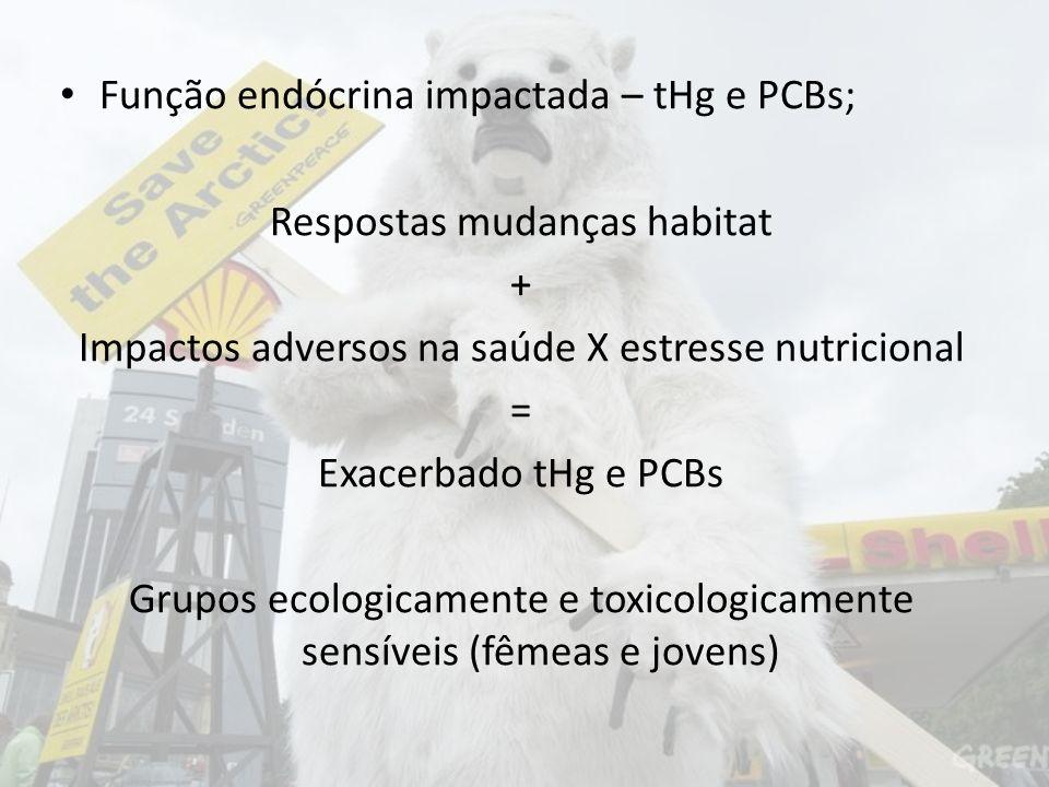 Função endócrina impactada – tHg e PCBs; Respostas mudanças habitat + Impactos adversos na saúde X estresse nutricional = Exacerbado tHg e PCBs Grupos