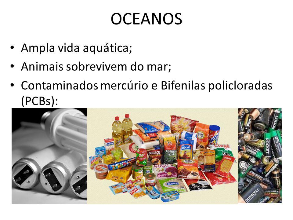 OCEANOS Ampla vida aquática; Animais sobrevivem do mar; Contaminados mercúrio e Bifenilas policloradas (PCBs): – Adsorvidas em moléculas orgânicas; –
