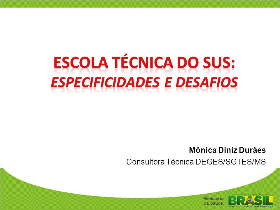 Secretaria de Gestão do Trabalho e da Educação na Saúde Ministério da Saúde Mônica Diniz Durães Consultora Técnica DEGES/SGTES/MS