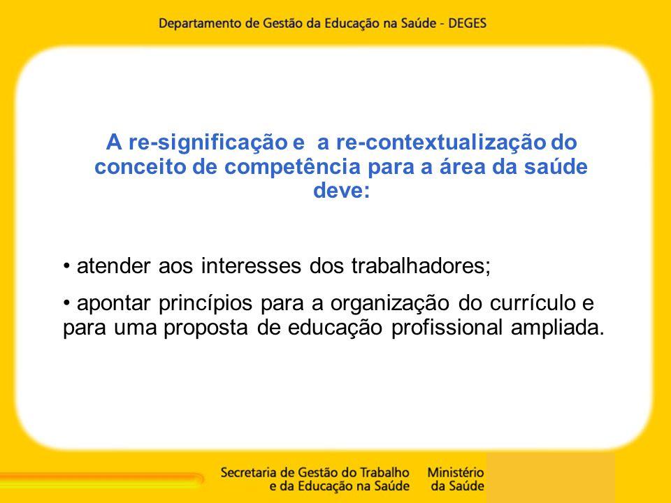 A re-significação e a re-contextualização do conceito de competência para a área da saúde deve: atender aos interesses dos trabalhadores; apontar prin