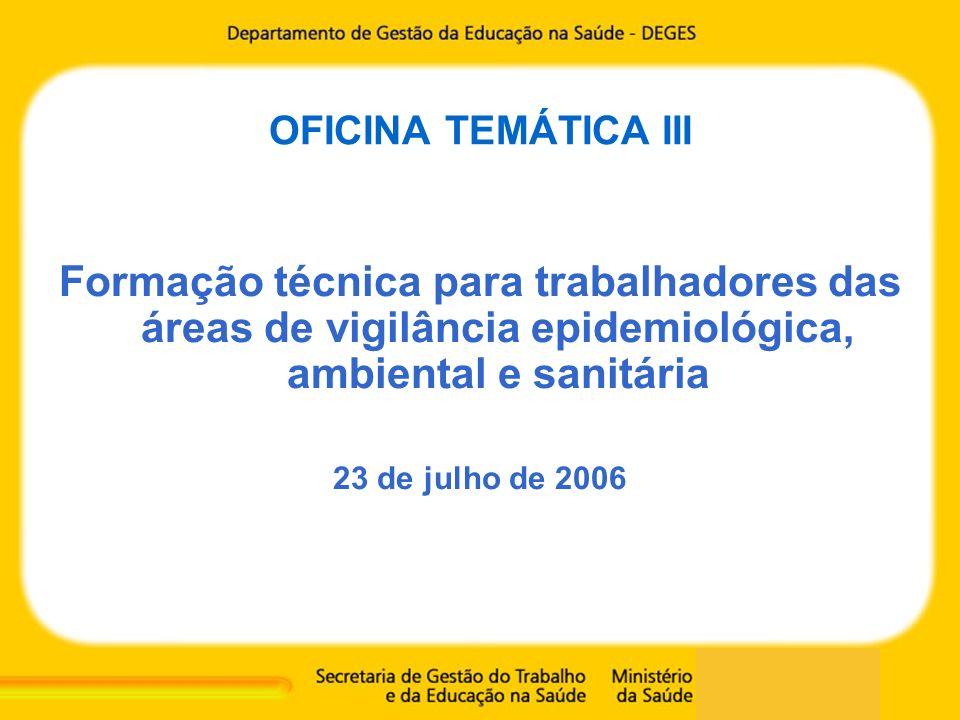 OFICINA TEMÁTICA III Formação técnica para trabalhadores das áreas de vigilância epidemiológica, ambiental e sanitária 23 de julho de 2006