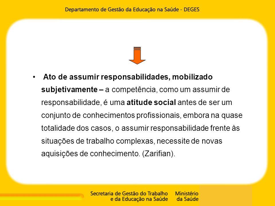 Ato de assumir responsabilidades, mobilizado subjetivamente – a competência, como um assumir de responsabilidade, é uma atitude social antes de ser um