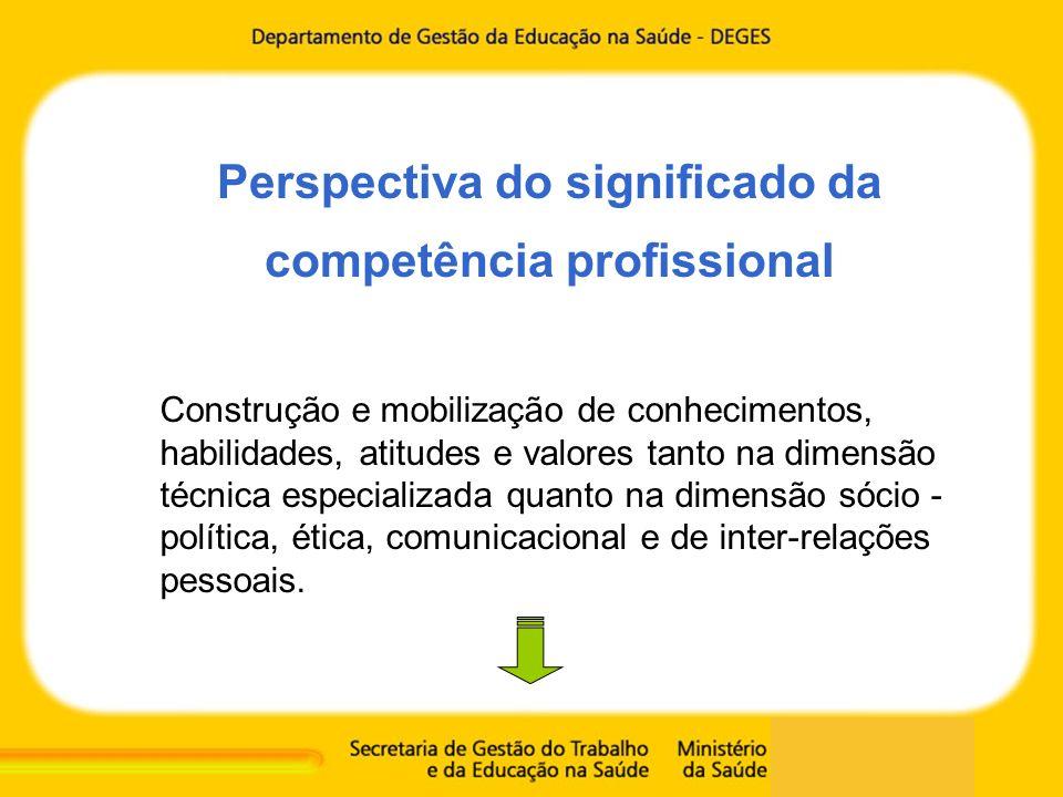 Perspectiva do significado da competência profissional Construção e mobilização de conhecimentos, habilidades, atitudes e valores tanto na dimensão té