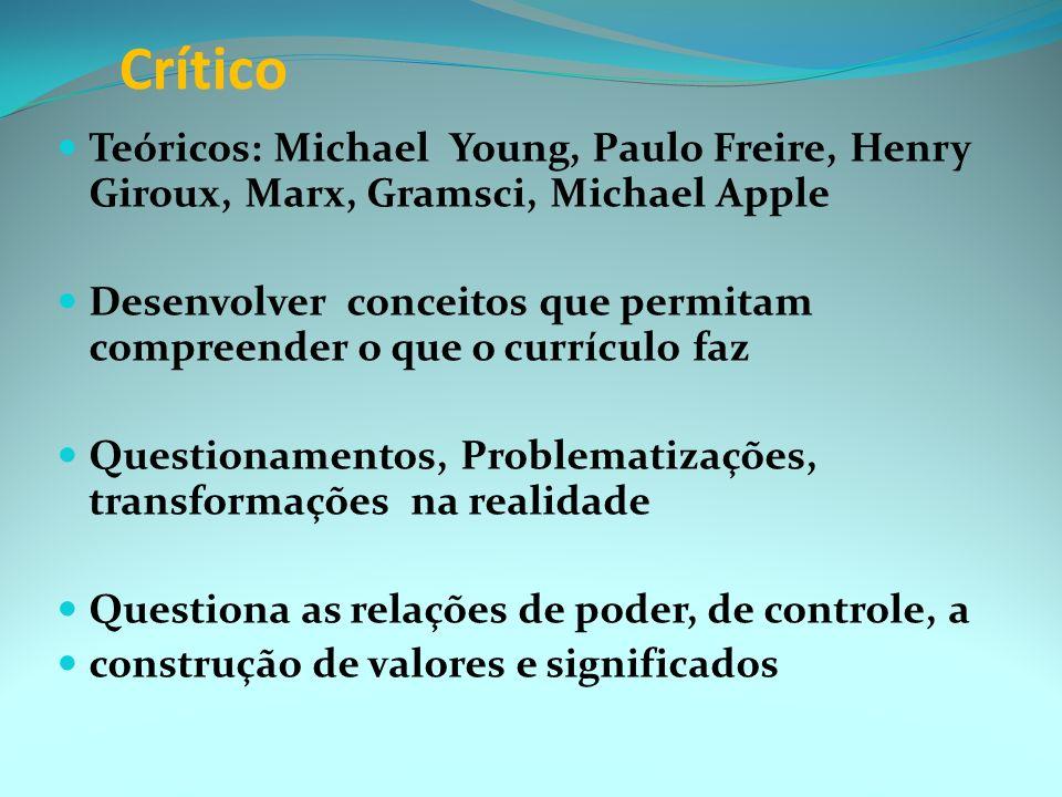 Tradicional O currículo remete a uma questão de desenvolvimento, de técnico Teóricos: Bobbit, Tyler Quais os objetivos educacionais? Quais as experiên