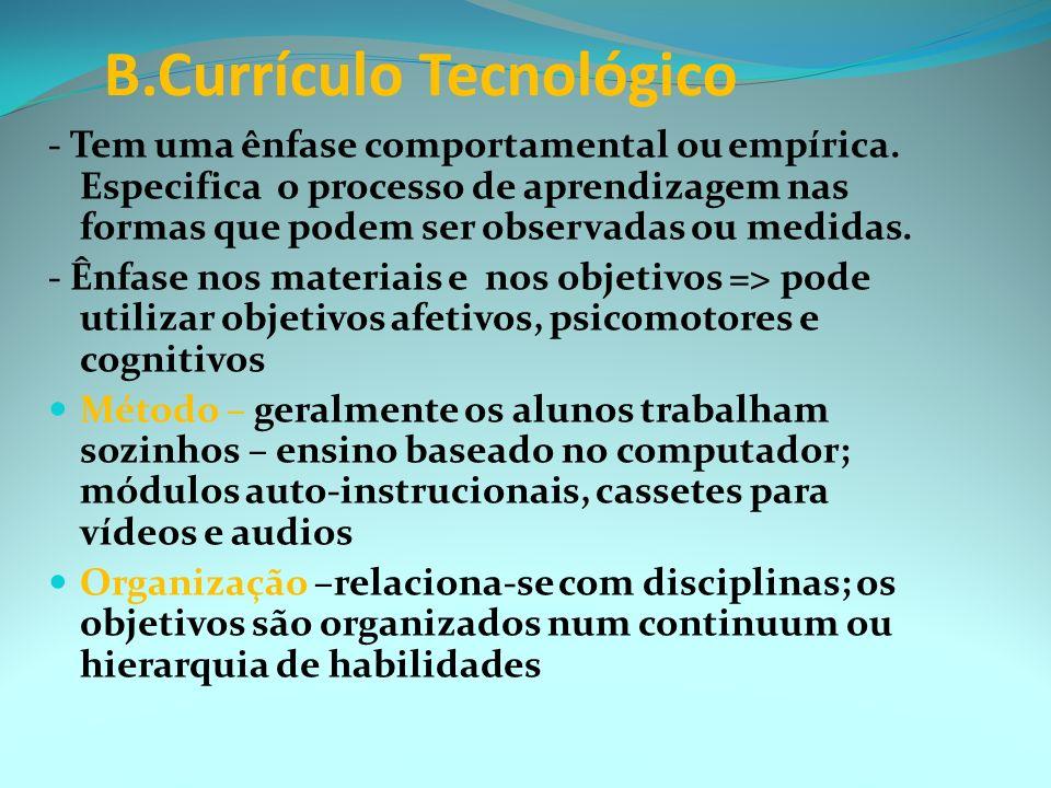 A. Currículo acadêmico CONHECIMENTO ORGANIZAÇÃO- O s alunos podem aprender como os conceitos de uma disciplina se relacionam com os de outra; Do simpl