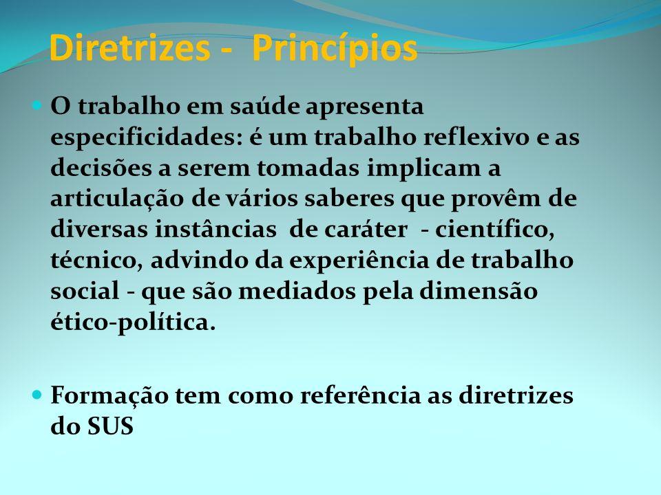 PROJETO CURRICULAR Diretrizes - Princípios Integralidade => múltiplas dimensões do processo saúde-doença ações de promoção, proteção, recuperação e re