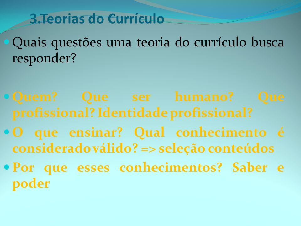 3.Teorias do Currículo Quais questões uma teoria do currículo busca responder.