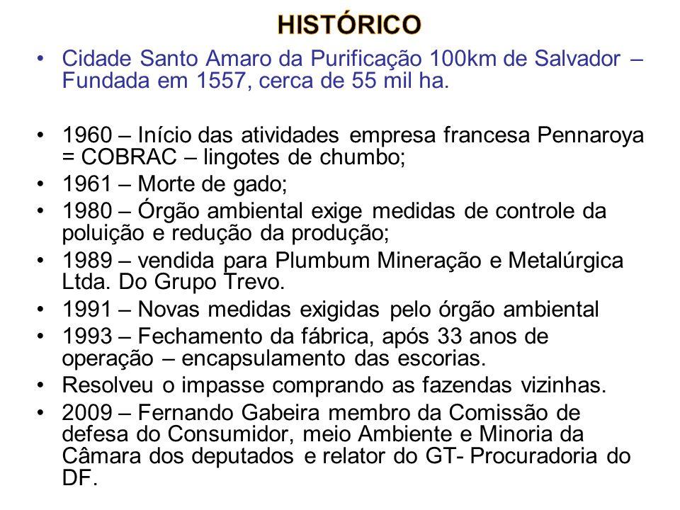 Cidade Santo Amaro da Purificação 100km de Salvador – Fundada em 1557, cerca de 55 mil ha. 1960 – Início das atividades empresa francesa Pennaroya = C