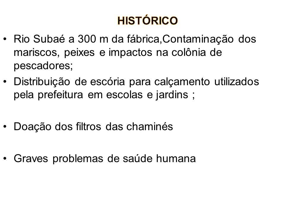 Rio Subaé a 300 m da fábrica,Contaminação dos mariscos, peixes e impactos na colônia de pescadores; Distribuição de escória para calçamento utilizados