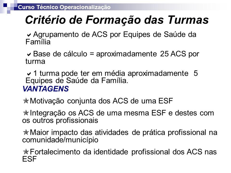 Operacionalização do Curso no Ceará 1ª Etapa 2ª Etapa 1ª Etapa5.247 ACS 2ª Etapa8.661 ACS TOTAL 13.908 ACS 2ª Etapa Fotaleza – 2.700 ACS Interior – 5.961 ACS Curso Técnico Operacionalização