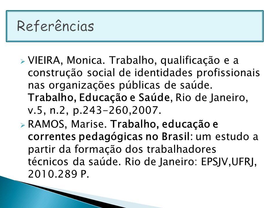 VIEIRA, Monica. Trabalho, qualificação e a construção social de identidades profissionais nas organizações públicas de saúde. Trabalho, Educação e Saú