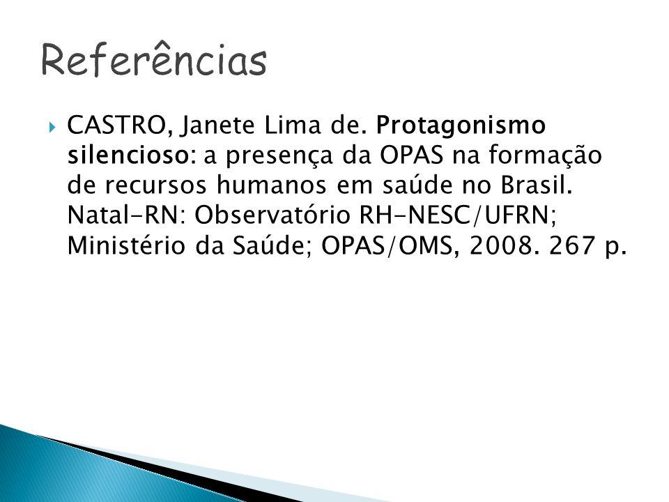CASTRO, Janete Lima de. Protagonismo silencioso: a presença da OPAS na formação de recursos humanos em saúde no Brasil. Natal-RN: Observatório RH-NESC