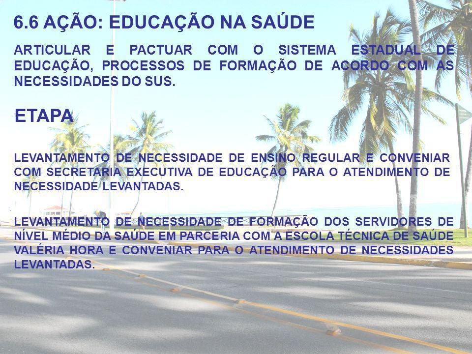 6.6 AÇÃO: EDUCAÇÃO NA SAÚDE ARTICULAR E PACTUAR COM O SISTEMA ESTADUAL DE EDUCAÇÃO, PROCESSOS DE FORMAÇÃO DE ACORDO COM AS NECESSIDADES DO SUS. ETAPA