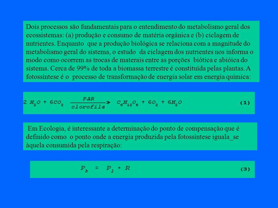 Dois processos são fundamentais para o entendimento do metabolismo geral dos ecossistemas: (a) produção e consumo de matéria orgânica e (b) ciclagem d