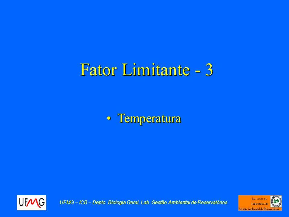 Fator Limitante - 3 TemperaturaTemperatura UFMG – ICB – Depto. Biologia Geral, Lab. Gestão Ambiental de Reservatórios