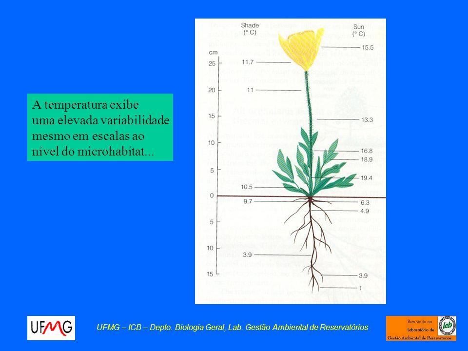 A temperatura exibe uma elevada variabilidade mesmo em escalas ao nível do microhabitat...