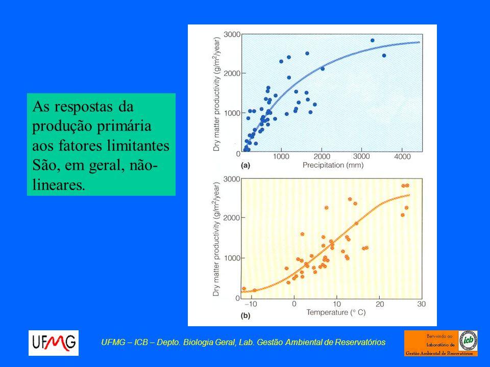 UFMG – ICB – Depto. Biologia Geral, Lab. Gestão Ambiental de Reservatórios As respostas da produção primária aos fatores limitantes São, em geral, não