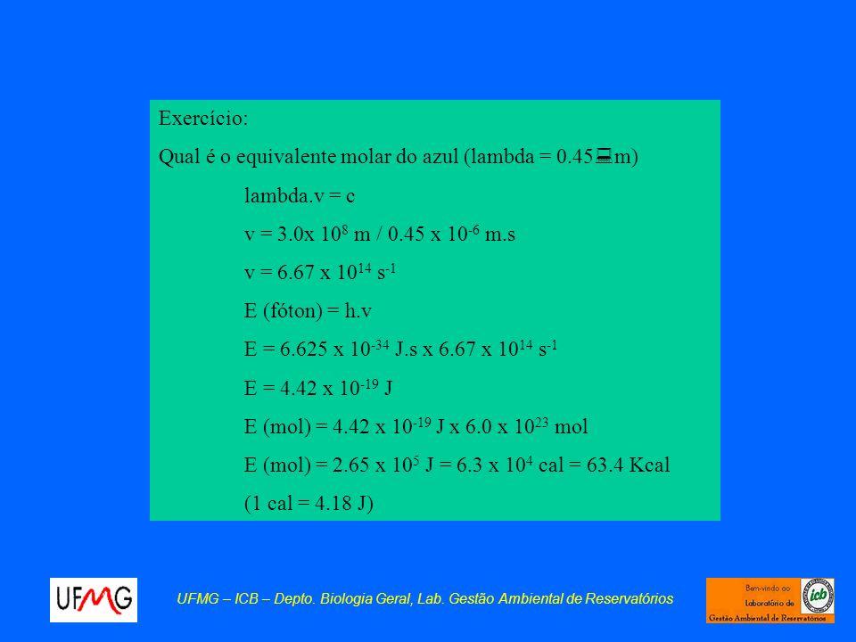 Exercício: Qual é o equivalente molar do azul (lambda = 0.45 : m) lambda.v = c v = 3.0x 10 8 m / 0.45 x 10 -6 m.s v = 6.67 x 10 14 s -1 E (fóton) = h.
