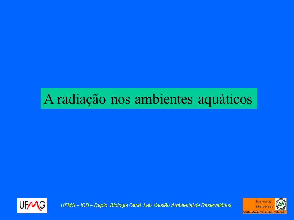 A radiação nos ambientes aquáticos UFMG – ICB – Depto. Biologia Geral, Lab. Gestão Ambiental de Reservatórios