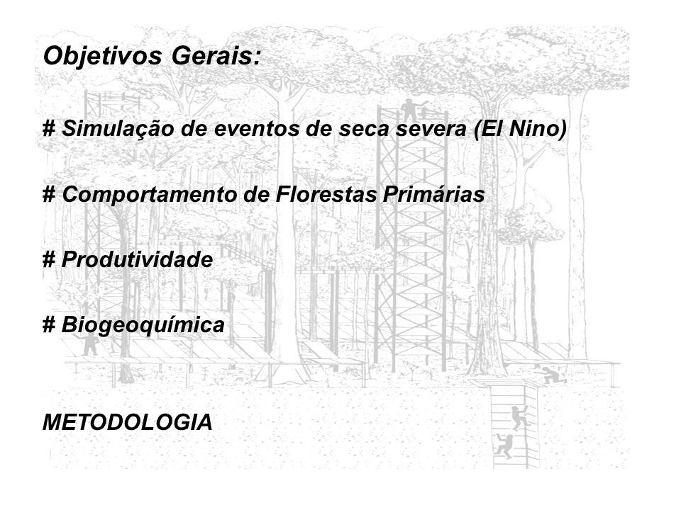 Objetivos Gerais: # Simulação de eventos de seca severa (El Nino) # Comportamento de Florestas Primárias # Produtividade # Biogeoquímica METODOLOGIA