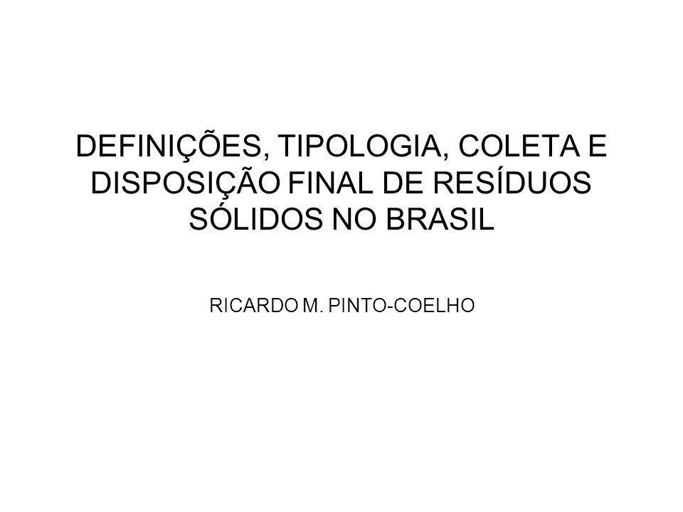 DEFINIÇÕES, TIPOLOGIA, COLETA E DISPOSIÇÃO FINAL DE RESÍDUOS SÓLIDOS NO BRASIL RICARDO M. PINTO-COELHO