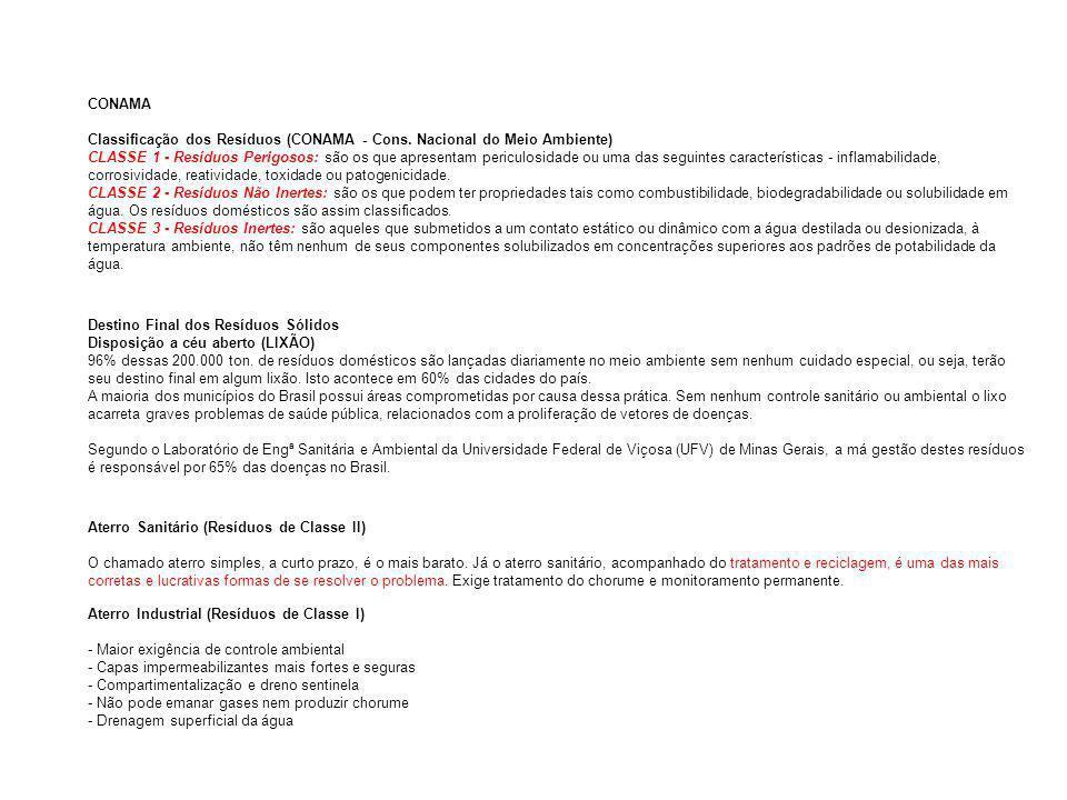CONAMA Classificação dos Resíduos (CONAMA - Cons. Nacional do Meio Ambiente) CLASSE 1 - Resíduos Perigosos: são os que apresentam periculosidade ou um