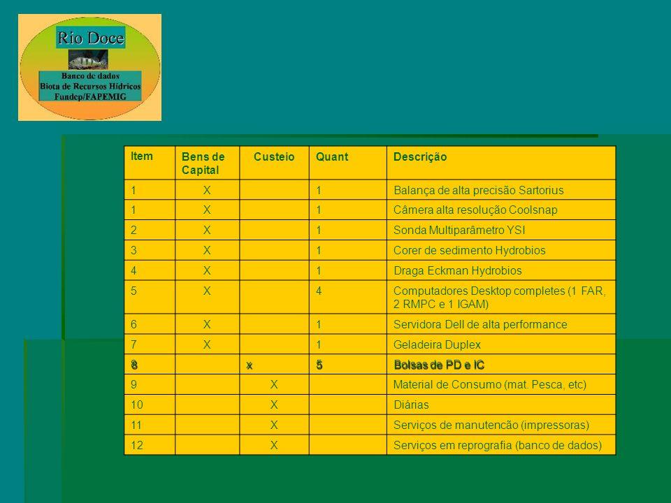 ItemBens de Capital CusteioQuantDescrição 1X1Balança de alta precisão Sartorius 1X1Câmera alta resolução Coolsnap 2X1Sonda Multiparâmetro YSI 3X1Corer de sedimento Hydrobios 4X1Draga Eckman Hydrobios 5X4Computadores Desktop completes (1 FAR, 2 RMPC e 1 IGAM) 6X1Servidora Dell de alta performance 7X1Geladeira Duplex 8x5 Bolsas de PD e IC 9XMaterial de Consumo (mat.