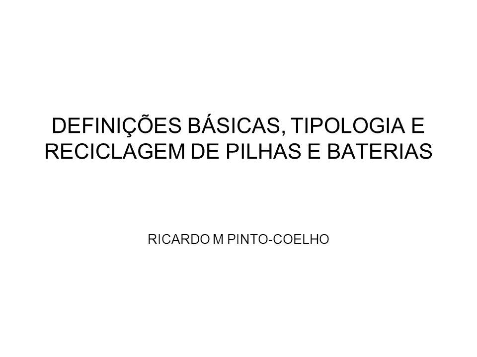 DEFINIÇÕES BÁSICAS, TIPOLOGIA E RECICLAGEM DE PILHAS E BATERIAS RICARDO M PINTO-COELHO