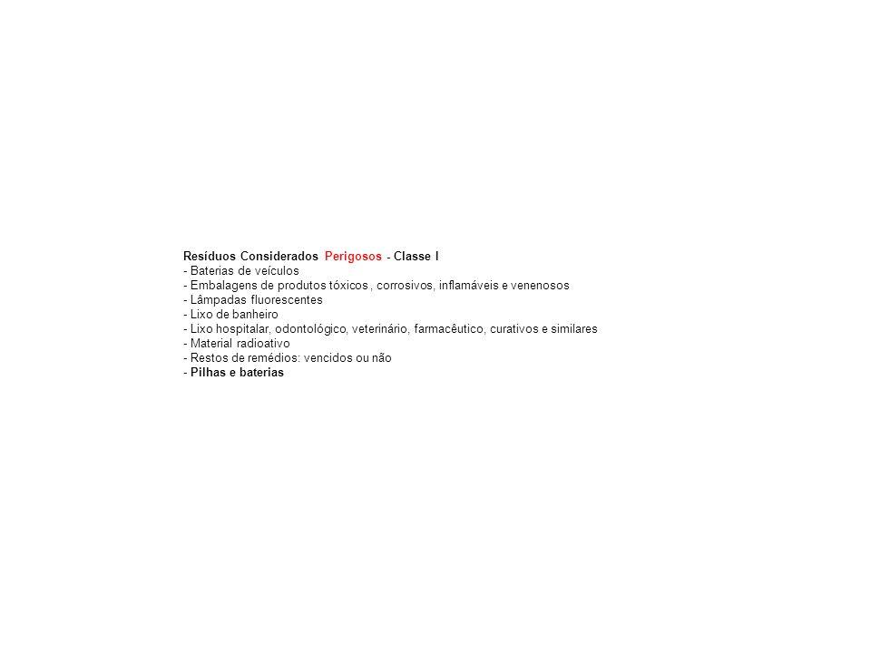 Resíduos Considerados Perigosos - Classe I - Baterias de veículos - Embalagens de produtos tóxicos, corrosivos, inflamáveis e venenosos - Lâmpadas fluorescentes - Lixo de banheiro - Lixo hospitalar, odontológico, veterinário, farmacêutico, curativos e similares - Material radioativo - Restos de remédios: vencidos ou não - Pilhas e baterias
