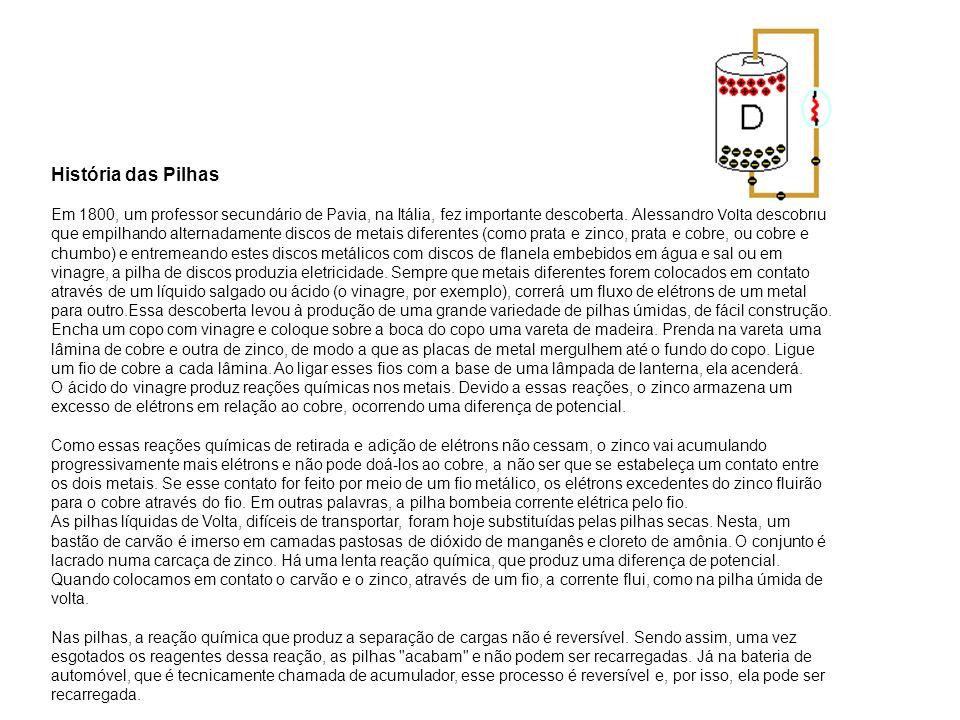 História das Pilhas Em 1800, um professor secundário de Pavia, na Itália, fez importante descoberta.