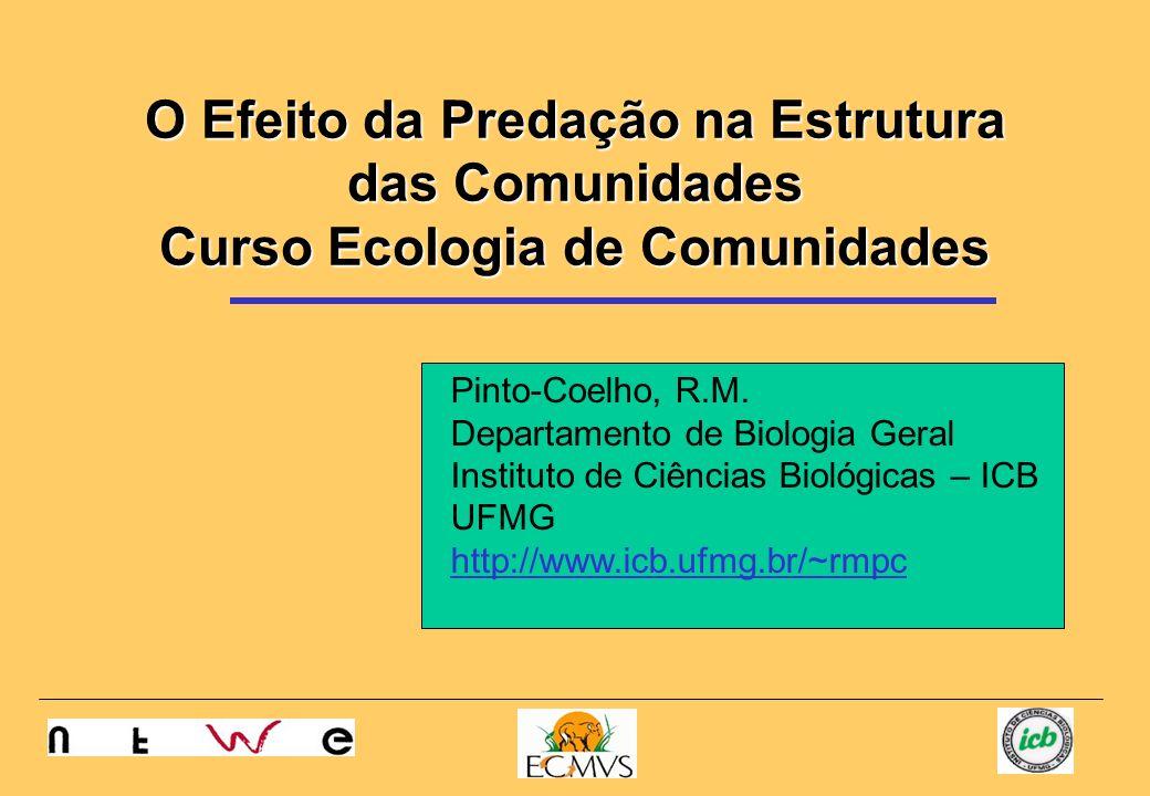 O Efeito da Predação na Estrutura das Comunidades Curso Ecologia de Comunidades Pinto-Coelho, R.M. Departamento de Biologia Geral Instituto de Ciência