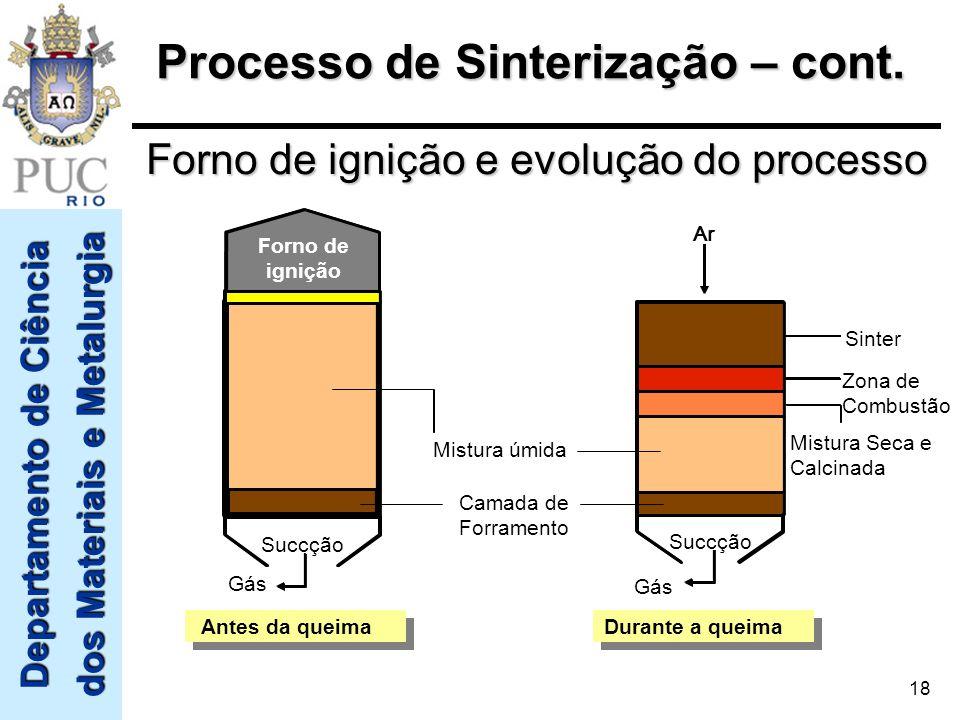 Departamento de Ciência dos Materiais e Metalurgia 18 Mistura úmida Camada de Forramento Gás Forno de ignição Succção Sinter Zona de Combustão Mistura