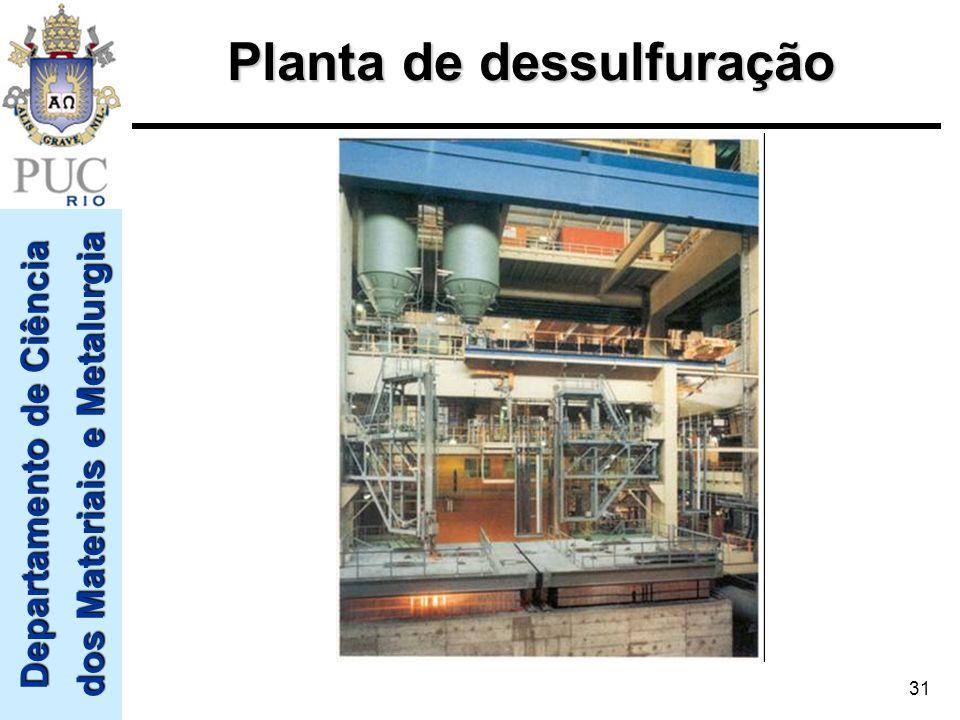Departamento de Ciência dos Materiais e Metalurgia 31 Planta de dessulfuração