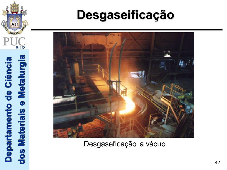 Departamento de Ciência dos Materiais e Metalurgia 42 Desgaseficação a vácuoDesgaseificação