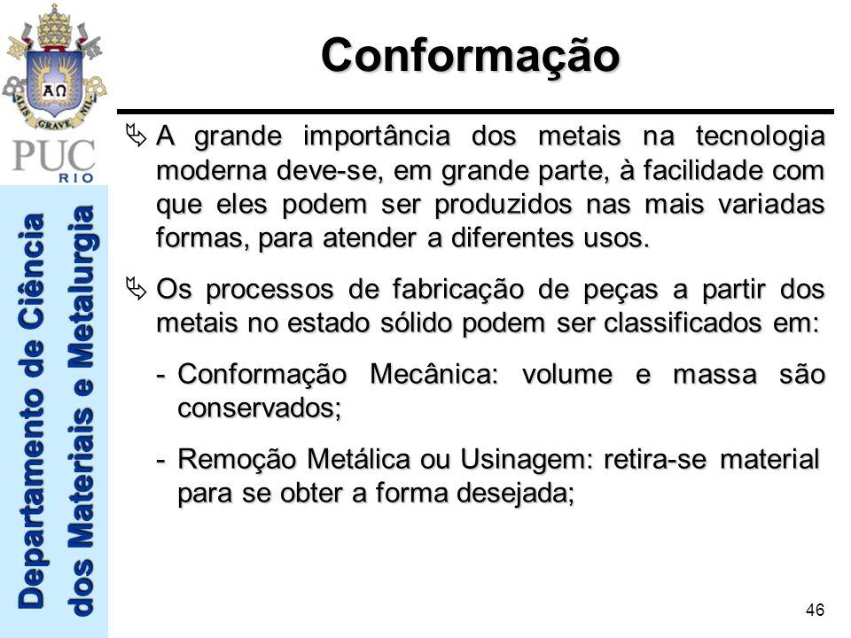 Departamento de Ciência dos Materiais e Metalurgia 46Conformação A grande importância dos metais na tecnologia moderna deve-se, em grande parte, à fac