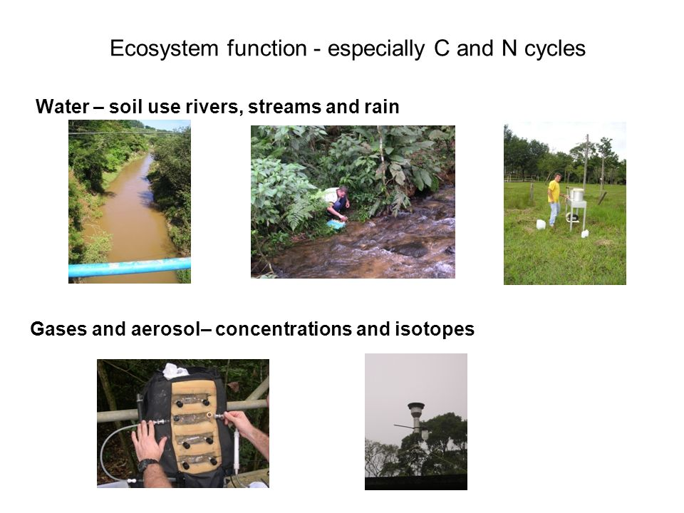 Ecosystem function - especially C and N cycles Water – soil use rivers, streams and rain Gases and aerosol– concentrations and isotopes